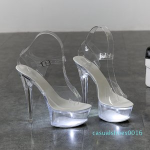 Light Up Glowing Shoes Woman Luminous Clear Sandals Women Platform Shoes Clear High Heel Transparent Stripper Wedding Shoes c16