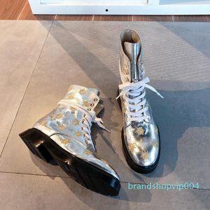 Heißer Verkauf- Designer Frauen Schuhe Mode britischen Boots-runde Zehe Martin Stiefel Runde Zehe-Mode Gestickte Ankle Boots Sun Blume Booties