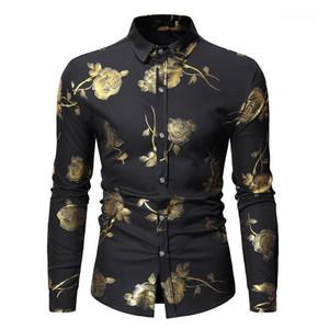 Mode Lapel Neck Hommes Chemises simple boutonnage hommes Vêtements décontractés Golden Rose Imprimer Hommes Chemises Designer