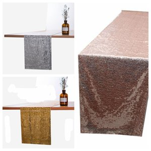 Glitter Sequin Table Runner Cloths for Xmas Party Banquet Wedding Sparkly Wedding Party Banquet Tablecloth Decor 30*275CM KKA7564