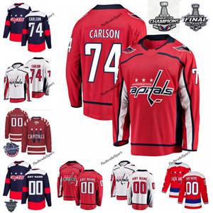 2018 Stanley Kupası Finali Washington Başkentleri Stadyum Serisi John Carlson Hokeyi Formaları 74 John Carlson Dikişli Forma Özel Ad Forması