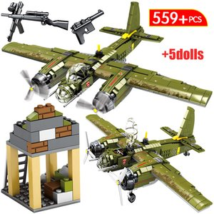 Askeri Fighter Uçak Model Yapı Taşları Legoings İl WW2 Harç Polis DIY Helikopter Tuğlalar Oyuncaklar İçin Çocuklar için