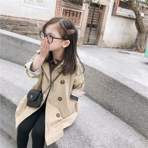 CRIANÇAS menina tenchcoat blazer jaqueta crianças outwear britânico longo trespassado crianças roupas meninas tench casaco casacos coreanos bebê