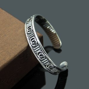 316L titanyum çelik takı toptan G harfi şerit açık braceletbangles çift retro aşk bilezik takı hediye
