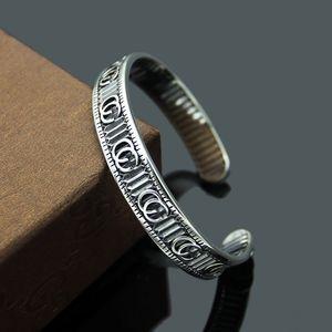 316L titanium steel jewelry wholesale G letter stripe open bracelet&bangles couple retro love bracelet jewelry gift