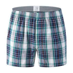 2019 망 속옷 Boxer 느슨한 Striped 및 격자 무늬 Shorts Men 's 팬티면 큰 Size 화살표 Pants At 집 속옷 Men SH190829
