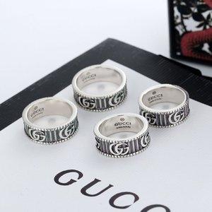 Großhandel GG Art und Weise luxuriöse hochwertige Feinsilber GUCCI Stamp-Ring für Frauen Männer Schmuck Hochzeit mit Kasten 2020 GUCCI