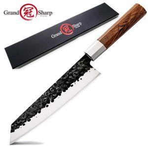 اليدوية سكين الشيف 8 بوصة اليابانية Kiritsuke شكل ارتفاع الكربون الصلب 4CR13 المهنية سكاكين المطبخ الطبخ أدوات التقطيع