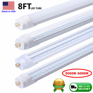 8 ft LED Tubes seule broche LED FA8 ampoule 8feet 8ft Lampe LED Tube Remplacer le tube fluorescent lumière V en forme de tube 5000K 6000K