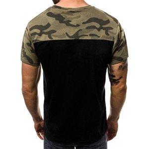 Mens magliette Panelled traspirante manica corta estate Stampa Mens maglietta Moda Slim Maglieria Uomo Camouflage O Collo