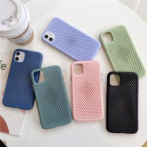 Mesh Heat Dissipation Refroidir Téléphone pour iPhone XR 11Pro XS Max X 7 8 Plus Matte Protector Lens Case silicone souple couverture