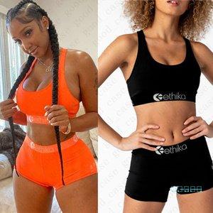 Diseñador de lujo del traje de baño verano de las mujeres de baño bikini letra de la impresión del tanque del chaleco sujetador + shorts 2 piezas de cultivos Piscina Set Top de las señoras traje D42403