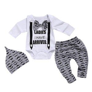 Wisefin Yenidoğan Giyim Erkek 3 adet Papyon Bebek Giysileri 0-18 Ay Bıyık Baskı Sevimli Uzun Kollu Bebek Set P35 J190521