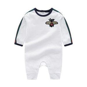 Yeni Bebek Rompers Bahar Sonbahar Erkek Bebek Giyim Yeni Romper Pamuk Yenidoğan Bebek Kız Çocuk Tasarımcı karikatür Arı Bebek Tulumlar Giyim