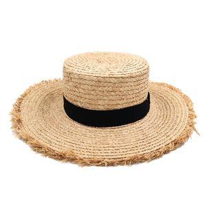 Sommer Outdoor-Strand-Party-Straße Sonnenhut Plastic Straw Bowler Cap Pork Pie Sailor Boater Chapeau Floppy Brim Hat