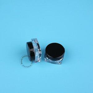 100pcs / Lot 3g Promoción vacío Crema envase plástico White Cap Negro Sombra de ojos Mujeres envase cosmético Pequeño recargable mini caja Pot