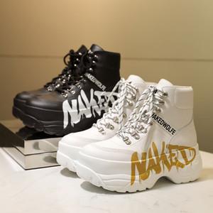 Женщина Brand New Голый Wolfe Boots Дух Золото Серебро Белый Черный Кожа граффити обувь Мода Дизайн High-топ кроссовки на шнурках Кроссовки