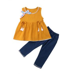 Casual Kid Baby Girl roupas de verão Verão Doce Amarelo moda bowknot Roupa T-shirt Jeans Tops Dress + denims calças 2pcs set