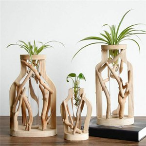 Vase transparent comptoir de fleurs en bois Décoration Salon Ornements