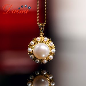 DAIMI Elegant Pearl Pendant 925 Sterling Silver Pendant Necklace 2-3mm 10.5-11mm Freshwater Pearl