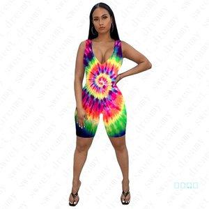 Женщины Тощий Комбинезоны Мода Tie-крашеные дамы лето One-частей шорты Sexy молнии Rompers Женские наряды печати рукавов Одежда D42205