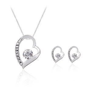 Crystal Heart Love Necklace Earings Jewelry Sets Hollow Heart Studs for Women Bride Bridesmaid Wedding Jewelry DROP SHIP 162188