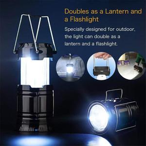 Nova Solar Powered LED recarregável Camping Lanterna portátil dobrável luz lanterna dobrável luz Tent Household Chama Lamp Flashlight