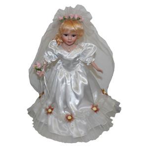 40cm victorienne Porcelain Doll Femme Modèle en robe de mariage blanc Home Décor