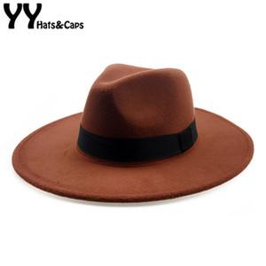 Elegante Orange Wolle Fedora Hut Für Frauen Herbst Vintage Trilby Caps Breiter Krempe Jazz Church Panama Männer Filz Bowler Hats Yy18111 Y19052004