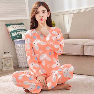 Spring Autumn Pyjamas Sets Thin Carton Generation Women Long Sleepwear Suit Home Women Gift Female Sleepwear