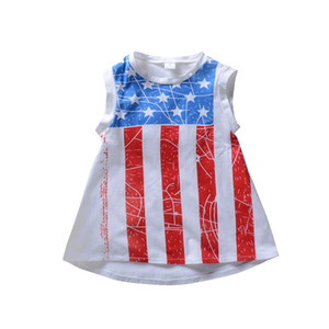 Girl Stars Sleeveless Dress Baby Stampa a righe A-Line Dress American Flag Independence National Day USA 4 luglio Kids Irregular Skirt