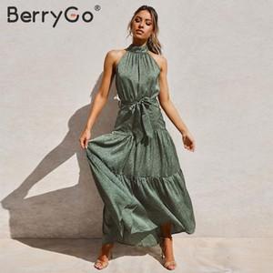 BerryGo atractiva de cuello halter mujeres del vestido sin mangas de la fiesta de verano de guillotina Primavera 2020 vestidos elegantes de vestir de semana largo verde de la vendimia