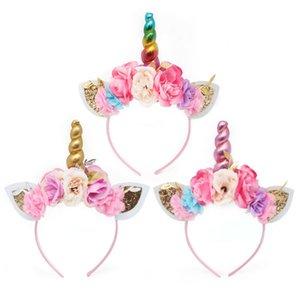 تأثيري جديد يونيكورن القرن المرأة الاطفال hairband زهرة حزب العصابة ملابس تنكرية زي الشعر Hairband