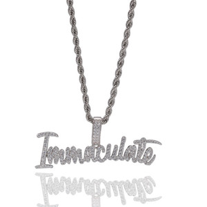 Hot Ins Cubic Zircon Immaculate Pendant Designer Necklace Fashion Punk Hip Hop Letters Jewelry For Rapper