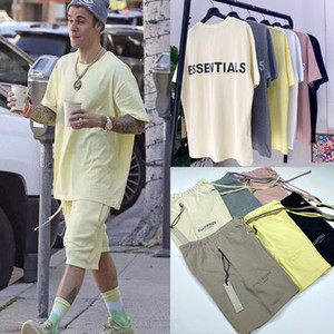 New FEAR OF GOD T-Shirts Shorts Set FOG Essentials-3M Reflective Oversize Top Bottom Set für Männer Frauen Justin Bieber Lässige Street