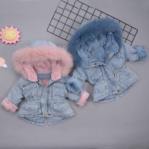 Children's Cowboy Warm Jacket for Boys and Girls Infant Baby Thicken Toddler Jackets 1-5Y Denim Plus Velvet Coat for Cold Winter