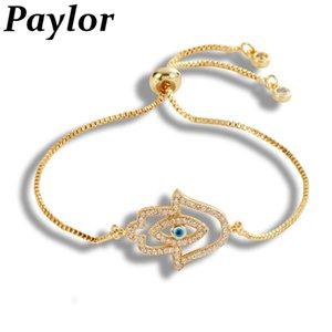 Vente Hot Turquie Blue Eye Bracelet mal pour les femmes de couleur d'or d'argent Charm Bracelets Chain Link réglable Femme Bijoux en cristal
