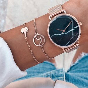 Hot Fashion Jewelry Metal Alloy Wave Coconut Tree Double Layer Bracelets Charms Bracelet S334