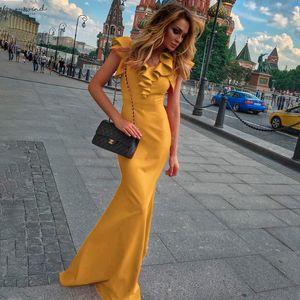 Women Long Maxi Dress Mermaid Ruffles Evening Party Dress Elegant Yellow Green Women Dress Vestido De Fiesta Robe Mc 2870