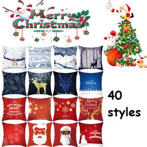 Noel Yastık Şeftali Cilt Santa Clause Noel Geyik Yastık Kılıfı Noel Dekoratif Atın Yastık Araba Koltuğu Yastık Kapak