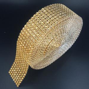 Solid Color 1 0,5 «X10 Yards Свадебные Wrap сетки Bling ленты Главная Таблица партия украшения Rhinestone Кристалл золото Diamond Mesh