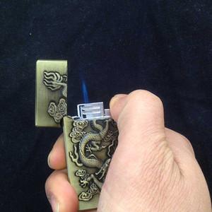creativa antorcha de chorro encendedor de cigarrillos de alivio de metal Modelo chino del dragón de acero a prueba de viento recargables hombres Gas Butano sonido de llama azul derecho