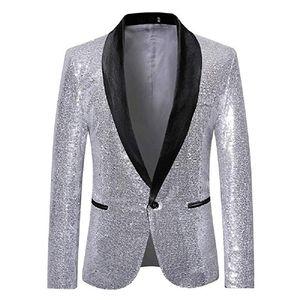 Populaire paillettes hommes costumes châle revers blazer veste hommes smokings costumes costume de bal mens manteau garçons d'honneur mariage invités costume seulement une veste