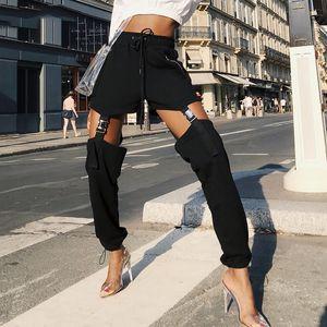 Конструктор Sweatpants женские брюки Instahot черный Drawstring Пряжка Карандаш Pant Женщины Zipper высокой талией вскользь Тяжеловесные Твердые брюки