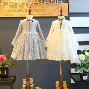 Collar de la niña de ropa de vestir redondo vestido largo de la manga del diseño del cordón de la muchacha de la princesa