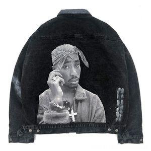 Streetwear Denim Jean Jacket Coat Men 2pc Rock Men's Outerwear & Coats Men's Clothing Rapper Patchwork Tie Dye HipHop Windbreaker Motorcycle