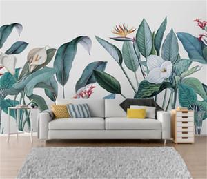 Скидка на дешевые обои Nordic ручная роспись небольшие свежие средневековые тропические растения и цветы домашнего декора гостиной стены пап