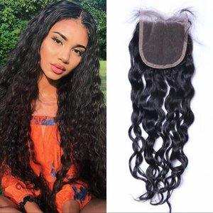 Indian Water Wave Lace Closure with Baby Hair 4x4 Human Hair Closure Unprocessed Hair Swiss Lace Top Closures