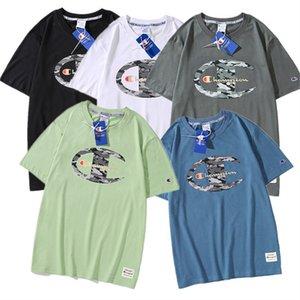Camuflaje de Campeones de la letra T-camiseta del algodón del verano del algodón camisa hombres de las mujeres camisetas de manga corta del O-cuello de diseño Tops Tees camisetas sueltas