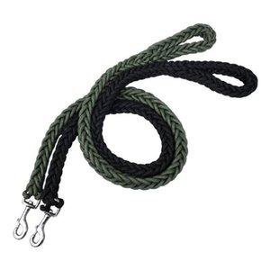 L / XL Super Strong gros Nylon Dog Leash armée verte toile double rangée collier de chien réglable pour chiens Moyen Gros Fournitures